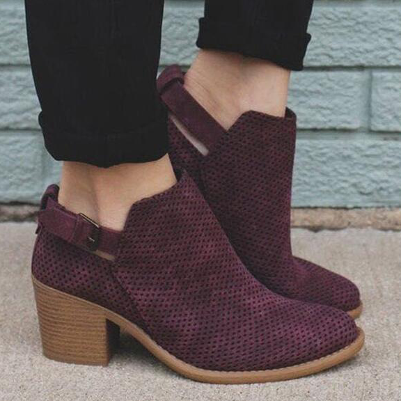 Adjustable Buckle Perforated Booties Ankle Boots