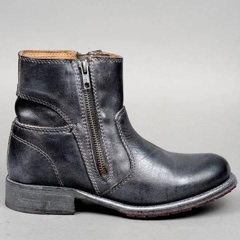 Vintage Double Zipper Women Booties Pu Zipper Low Heel Boots