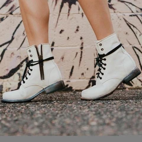 Women's Fashion Ankle Booties Lace Up Zipper Low Heel Martin Boots