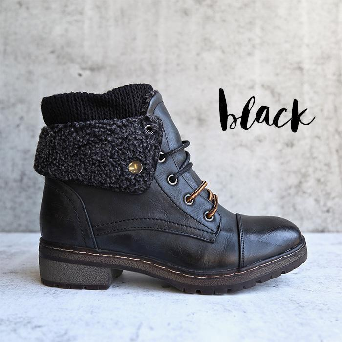 Fashion Handmade Leather Knit Cuff Ankle Boots