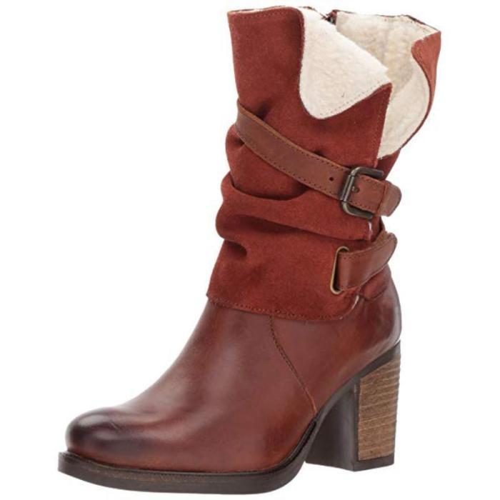 Women Vintage Chunky Heel Mid-Calf Boot