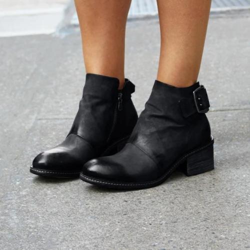 Artificial Leather Block Heel Dress Boots