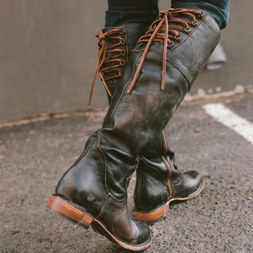 Women Side Zipper Vintage Knee-High Boots