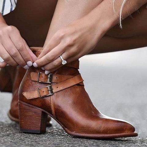 Women Ankle Boots Chunky Heel Back Zipper Casual Short Booties