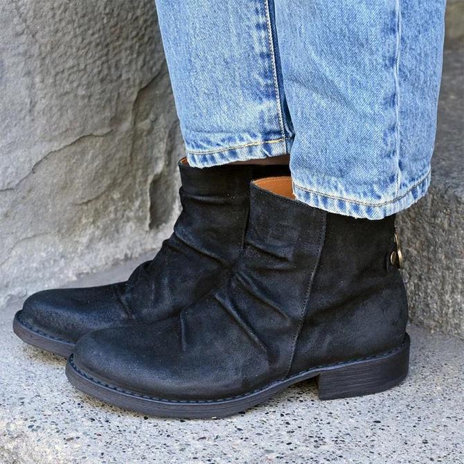 Block Heel Artificial Leather Zipper Boots
