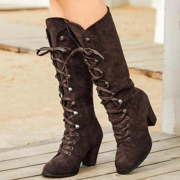 Leather Block Heel Daily Boots