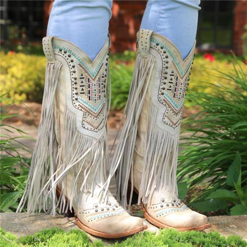 Corral Bone Swarovski Pattern Fringe Boot