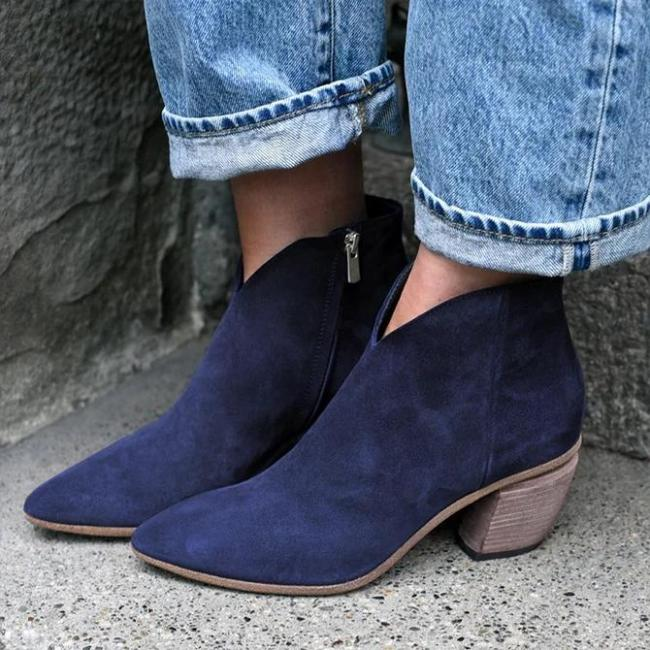 Block Heel Working Zipper Boots