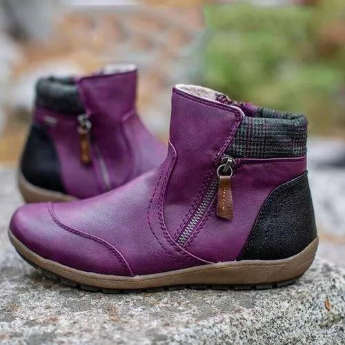 Women's Zipper Flat Heel Boots