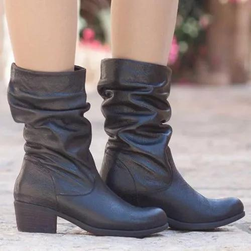 Women's Mid-Calf Boots Closed Toe Leatherette Chunky Heel Boots