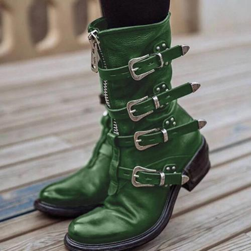 Women's Stylish Buckle Zipper Low Heel Mid-calf Boots