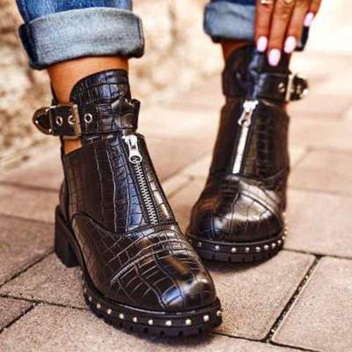 Artificial Leather All Season Zipper Boots