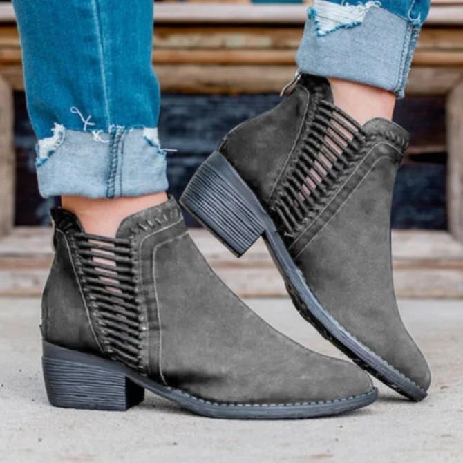 All Season Artificial Leather Zipper Boots