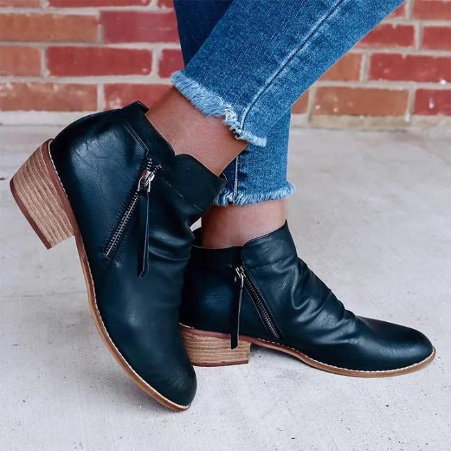 Women Retro Style Zipper Low Heel Boots