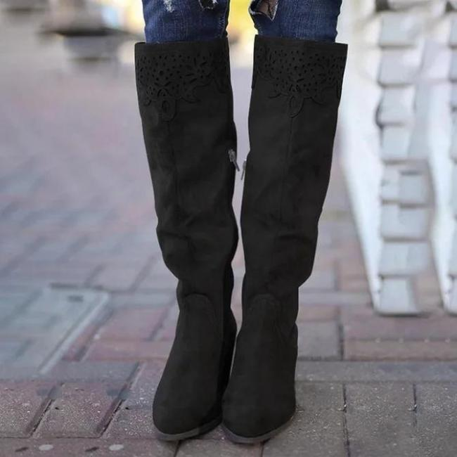 Winter Leather Block Heel Boots