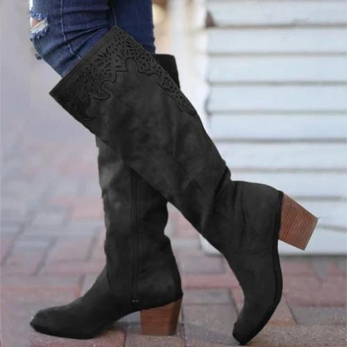 Winter Leather Block Heel Boots