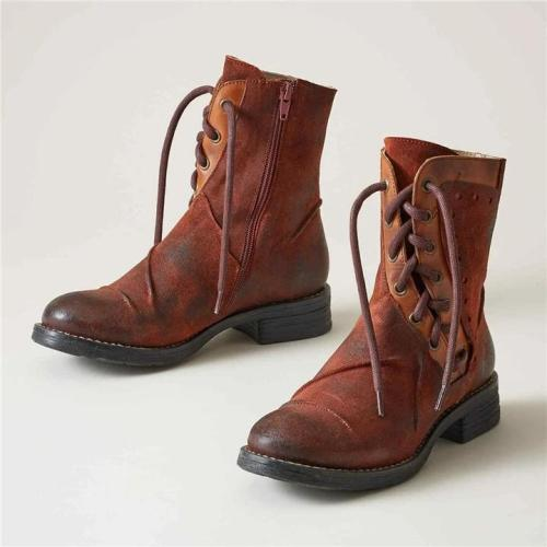 Women Retro Irregular Strap Low Heel Zipper Boots