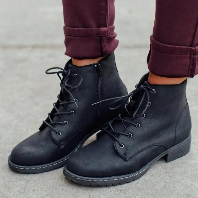 All Season Zipper Block Heel Boots