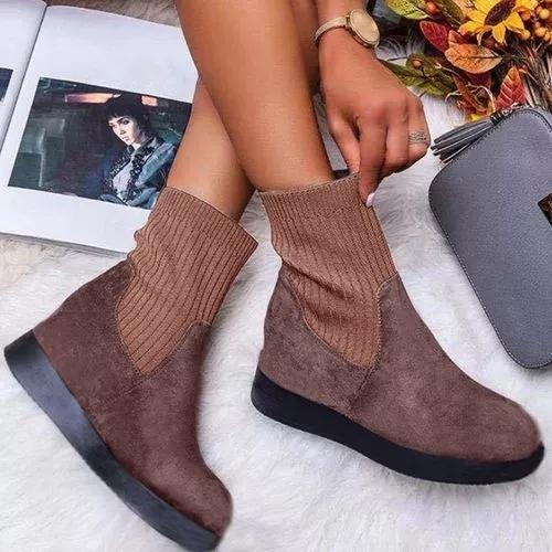 Women's Ankle Boots Round Toe Nubuck Flat Heel Boots