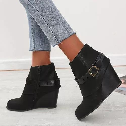 Women's Buckle Zipper Ankle Boots Closed Toe Wedge Heel Boots