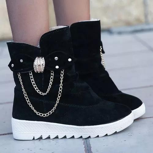 Women's Bowknot Chain Ankle Boots