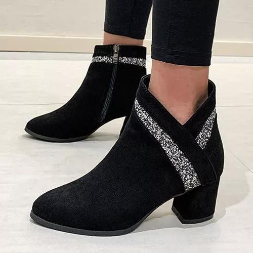 Women's Sequin Ankle Boots Closed Toe Pointed Toe Cloth Chunky Heel Boots