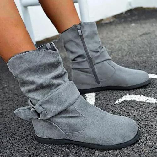 Women's Buckle Zipper Ankle Boots Closed Toe Flat Heel Boots