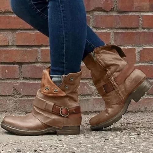 Women's Buckle Zipper Ankle Boots Low Heel Boots