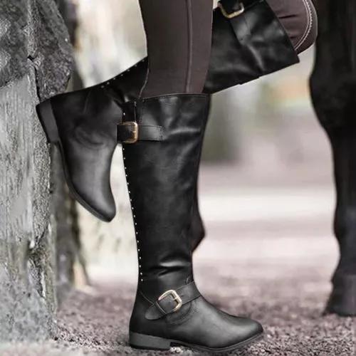 Women's Buckle Zipper Knee High Boots