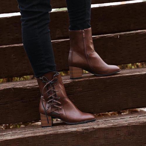 Women's vintage low heel Plus Size Boots