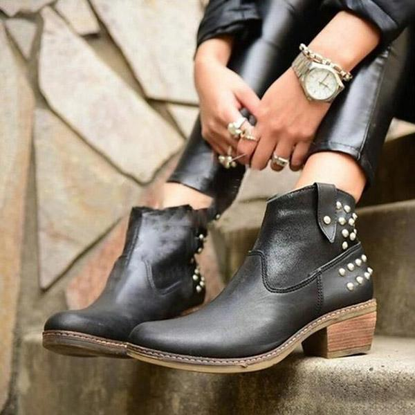Rivet Round Toe Ankle Zipper Matin Boots