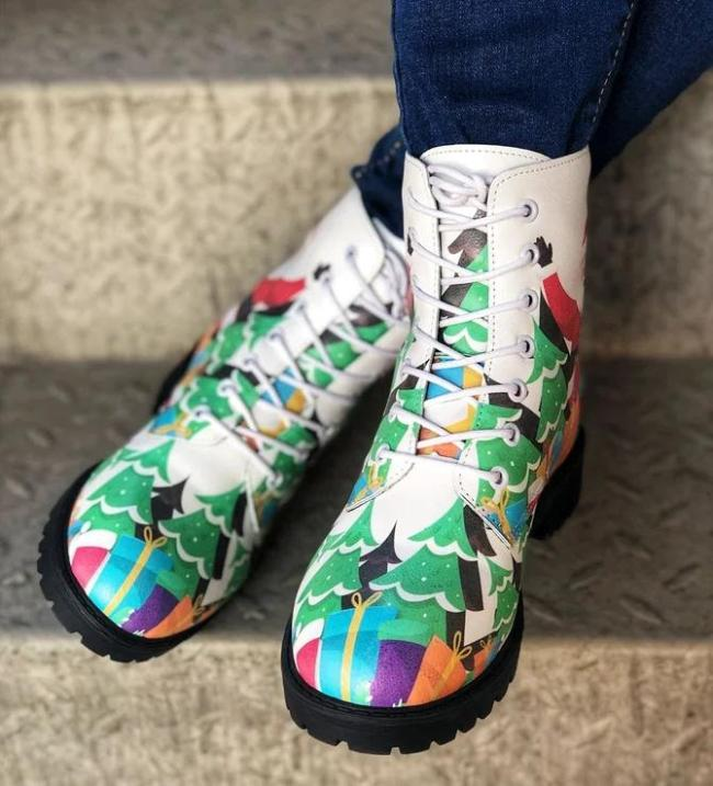 Casual Multicolor Winter Leather Boots
