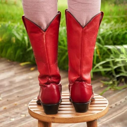 Block Heel Leather Boots