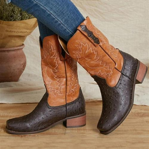Women Large Size Slip-On Ethnic Pattern Dot Mid-calf Cowboy Boots