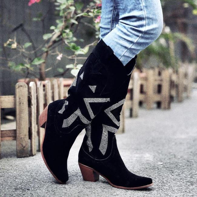Women Plus Size Fashion Wide Calf Chunky Heel Cowboy Boots