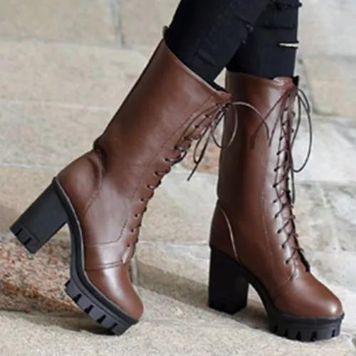 Women's Lace-up Mid-Calf Boots Low Heel Boots