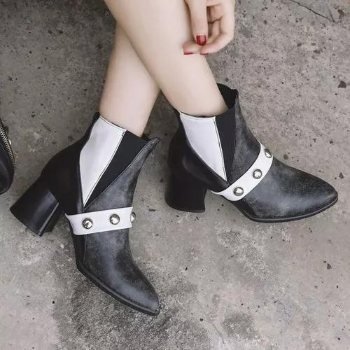Women's Beading Ankle Boots Pointed Toe Heels Leatherette Chunky Heel Boots