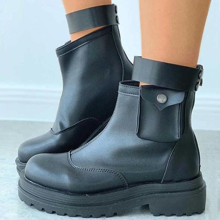 Women Zipper Small Bag Platform Plain Combat Boots