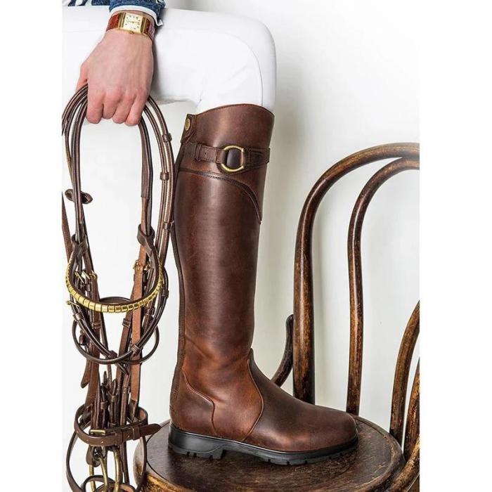 Fashion Round Toe Flat Knee High Boots
