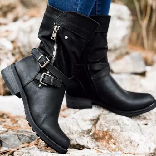 Women's Buckle Zipper Mid-Calf Boots Round Toe Low Heel Boots