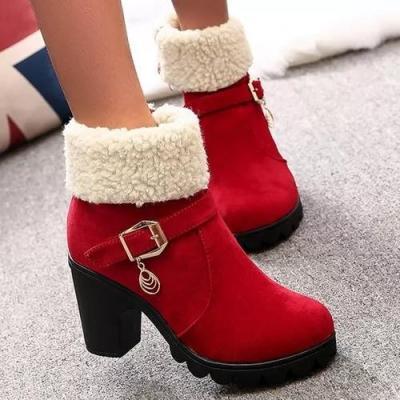 Women's Buckle Mid-Calf Boots Nubuck Chunky Heel Boots