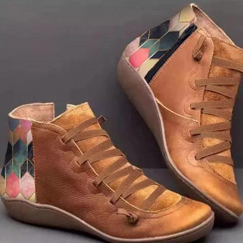 Women's Lace-up Ankle Boots Flat Heel Boots