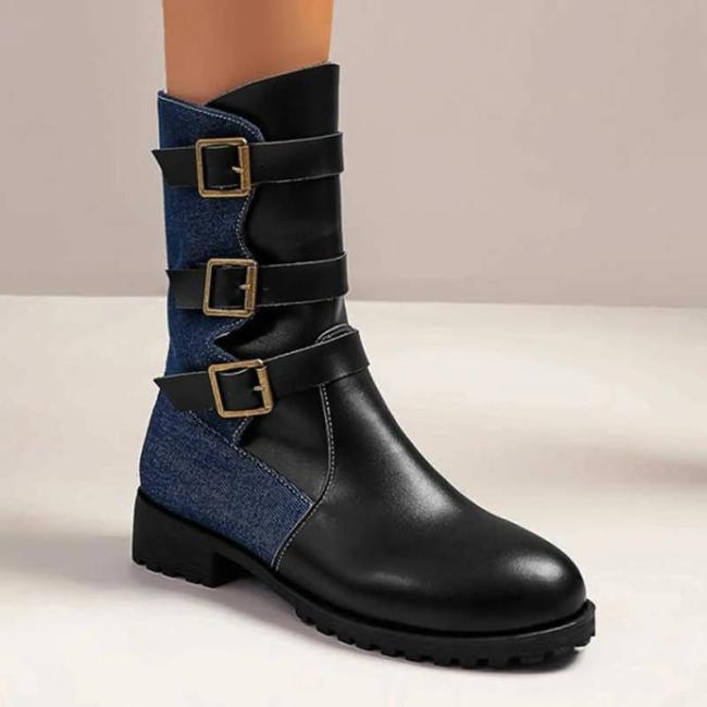 Women Panel Low Heel Buckle Casual Ankle Boots
