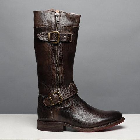 Comfort Side Zipper Boots Adjustable Buckle Low Heel Outdoor Boots