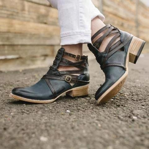 Vintage Medieval Ankle Boots Casual Zipper Low Heel Boots