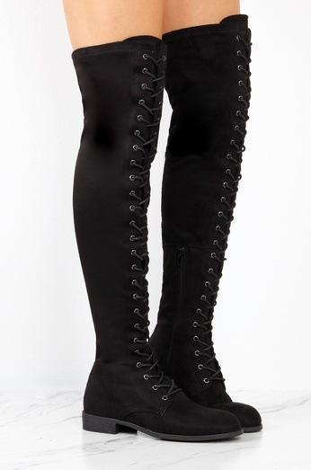 *Low Heel Flat Lace Up Boots Zipper Shoes Thigh High Over Knee Boots