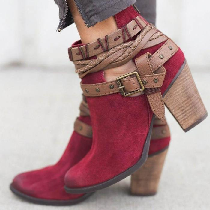 *Women Flocking Booties Casual Adjustable Buckle Shoes