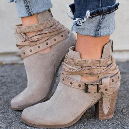 *Women Flocking Booties Casual Adjustable Buckle Shoes