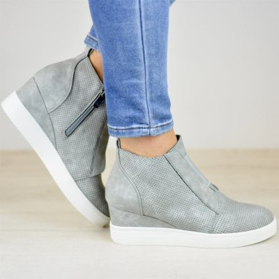 *Comfort Zipper Wedge Sneakers Plus Size Wedges with Side Zipper