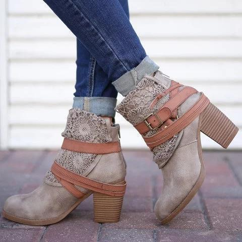 *Women Fashion Lace Ankle Boots Chunky Heel Daily Zipper Booties